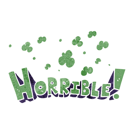 horrible: freehand drawn retro cartoon word horrible
