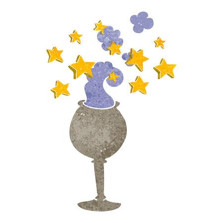 grail: freehand drawn retro cartoon magic goblet