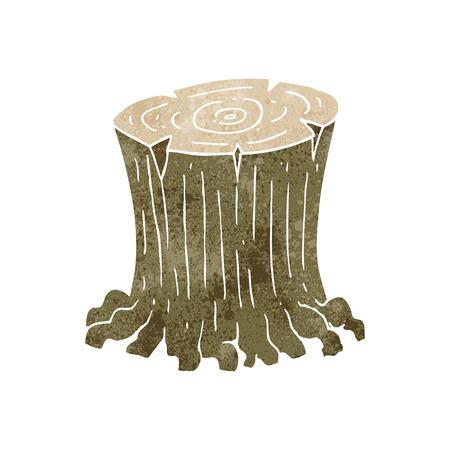 freihändig retro Cartoon großen Baumstumpf