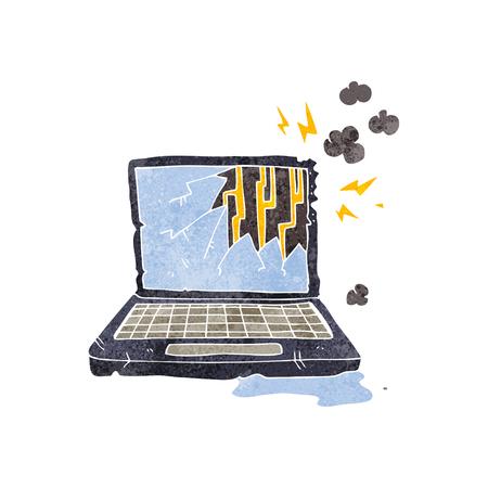 broken computer: freehand retro cartoon broken computer Illustration