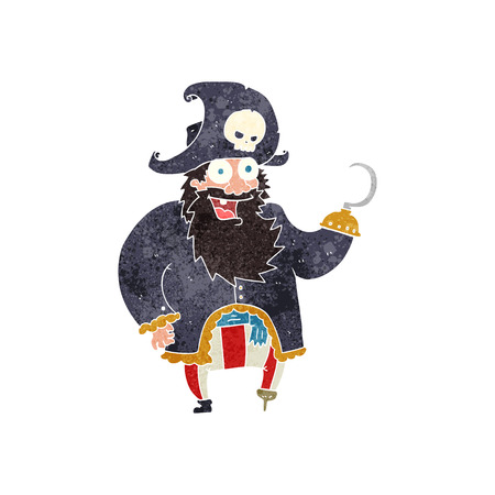 pirate captain: freehand retro cartoon pirate captain Illustration