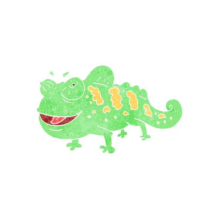 chameleon: freehand retro cartoon chameleon Illustration