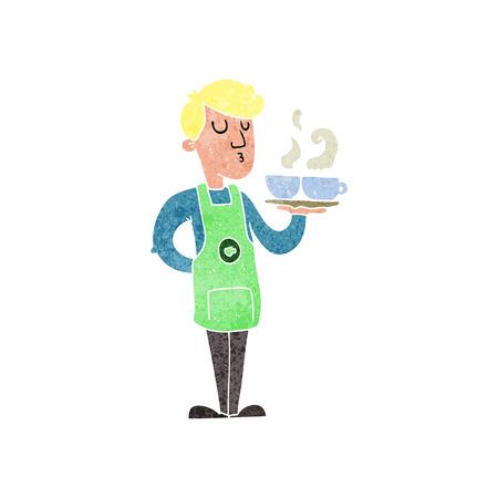 barista: freehand retro cartoon barista serving coffee