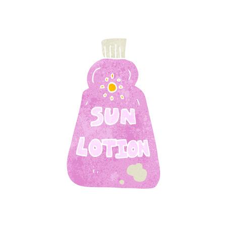 sun lotion: freehand retro cartoon sun lotion