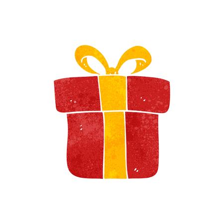retro christmas: freehand retro cartoon christmas gift