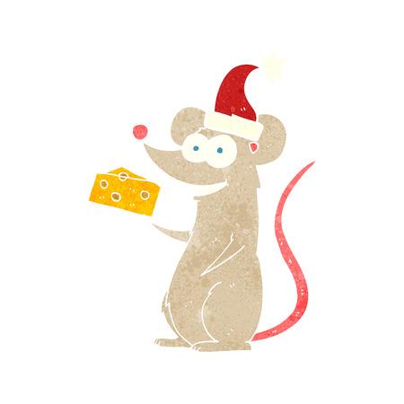 retro christmas: freehand retro cartoon christmas mouse