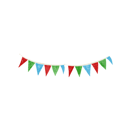 bunting flags: freehand retro cartoon bunting flags
