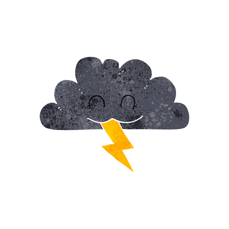 storm cloud: freehand retro cartoon storm cloud Illustration