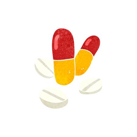 painkiller: freehand retro cartoon pills
