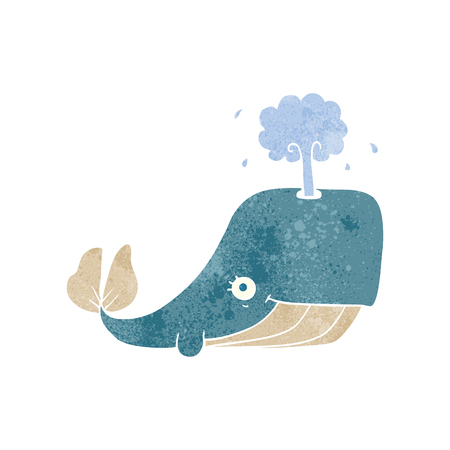 crazy: freehand retro cartoon whale spouting water