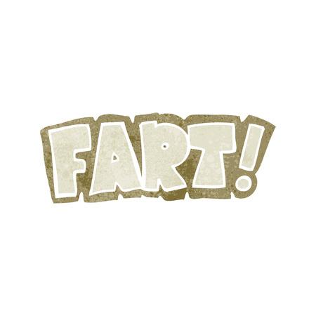 fart: freehand retro cartoon fart symbol Illustration