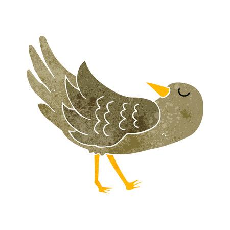 freehand retro cartoon bird Illustration