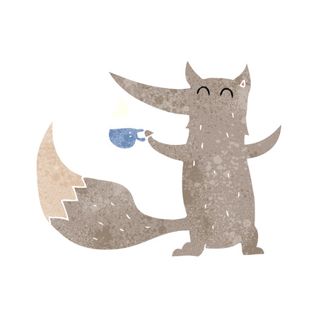 freehand retro cartoon wolf with coffee cup Illustration