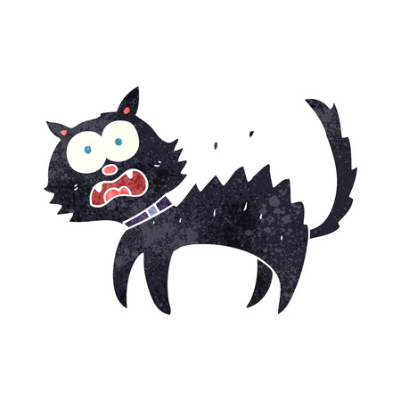 scared: freehand retro cartoon scared black cat
