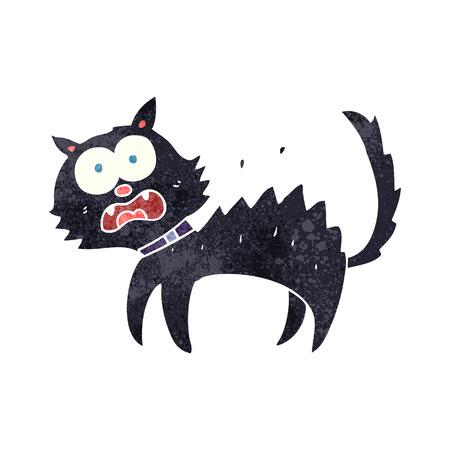 unlucky: freehand retro cartoon scared black cat