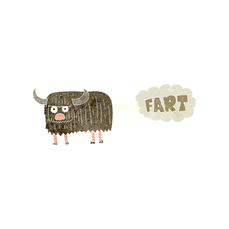 farting: freehand retro cartoon hairy cow farting