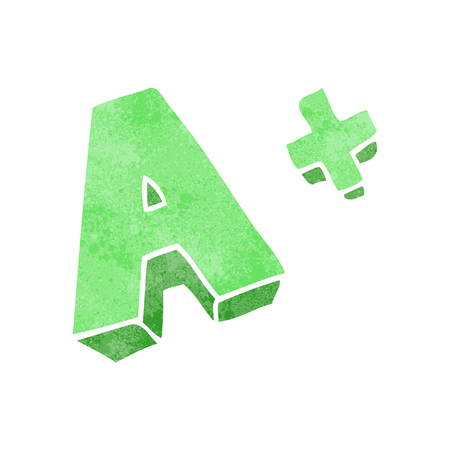 grade: freehand retro cartoon A grade symbol