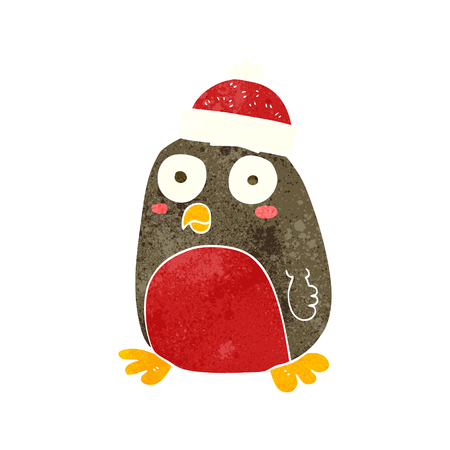 christmas robin: freehand retro cartoon christmas robin Illustration