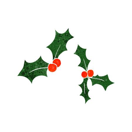 retro christmas: freehand retro cartoon christmas holly
