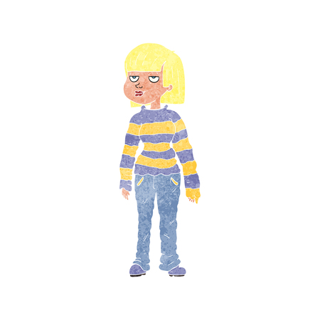 chilled out: freehand retro cartoon woman in casual clothes