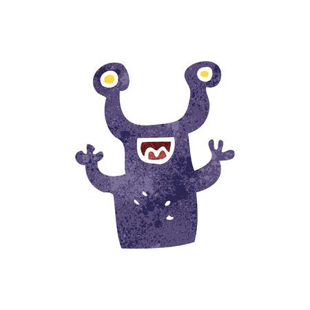 alien cartoon: freehand retro cartoon little alien
