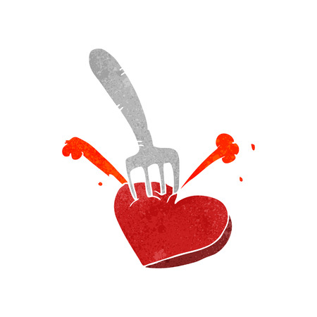 stabbed: freehand retro cartoon heart stabbed by fork Illustration