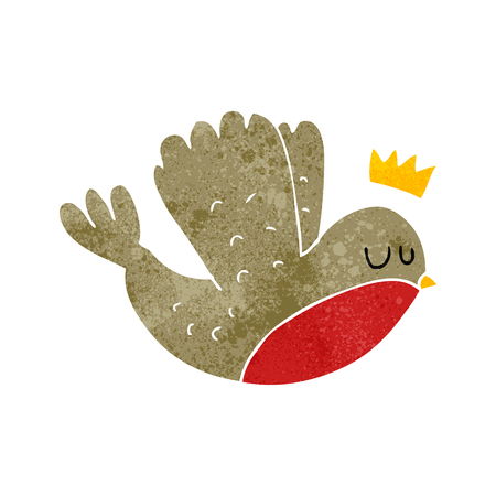 christmas crown: freehand retro cartoon flying christmas robin with crown Vectores