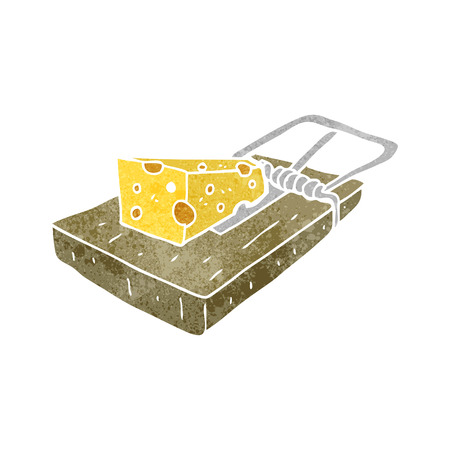 mouse trap: freehand retro cartoon mouse trap Illustration