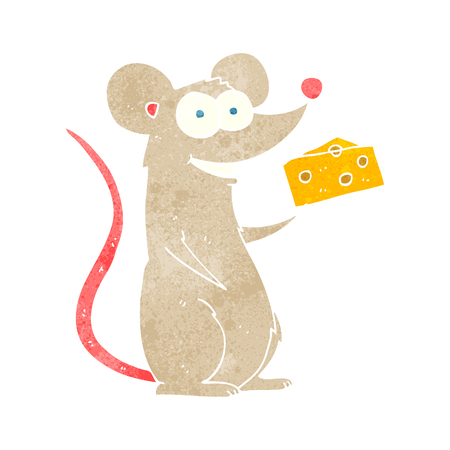cheese cartoon: freehand retro cartoon mouse with cheese