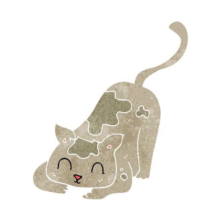 gato jugando: a mano alzada de juego retro gato de dibujos animados