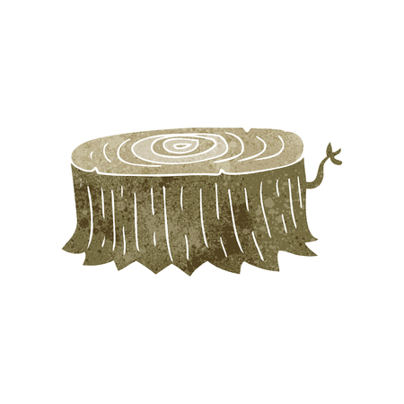 freihändig retro Cartoon Baumstumpf