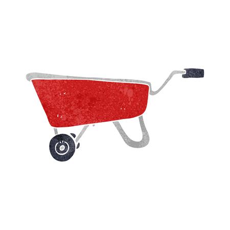 wheelbarrow: freehand retro cartoon wheelbarrow