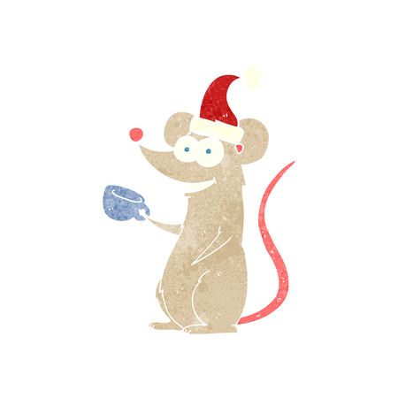 wearing: freehand retro cartoon mouse wearing christmas hat