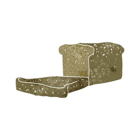 loaf: freehand retro cartoon loaf of bread