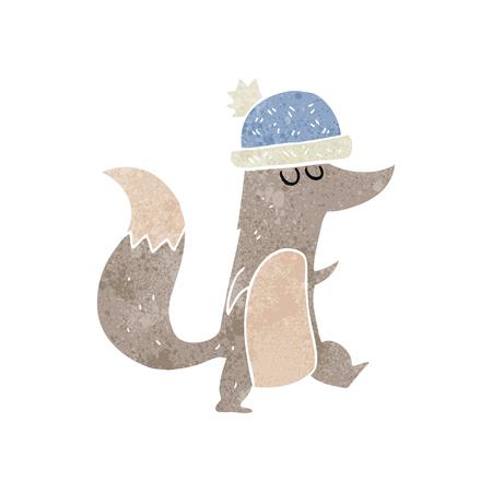 wearing: freehand retro cartoon little wolf wearing hat