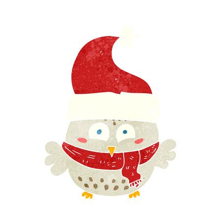 wearing: freehand retro cartoon owl wearing christmas hat Illustration