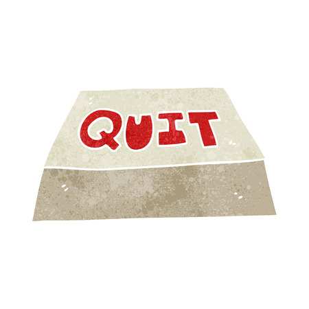 quit: freehand retro cartoon quit button