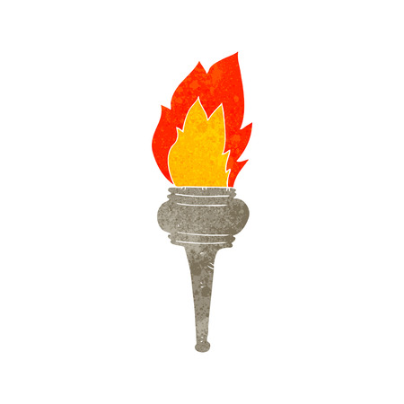 flaming torch: freehand retro cartoon flaming torch Illustration