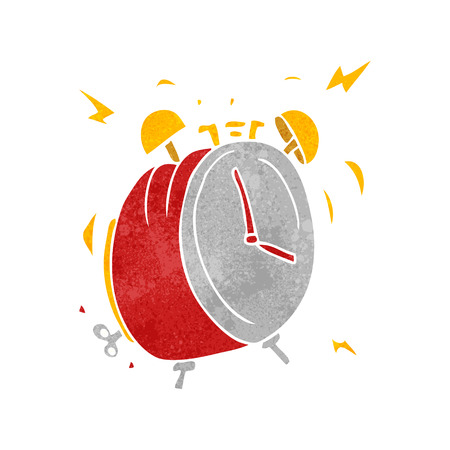 freehand retro cartoon ringing alarm clock Illustration