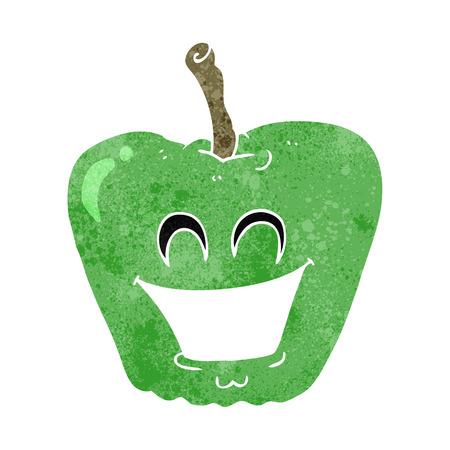 grinning: freehand retro cartoon grinning apple