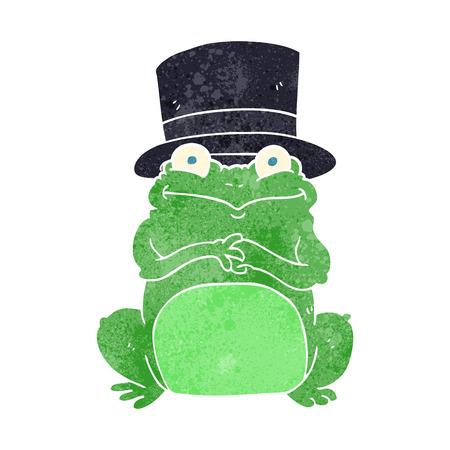 scheming: freehand retro cartoon frog in top hat Illustration