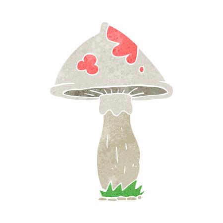 cartoon mushroom: freehand retro cartoon mushroom