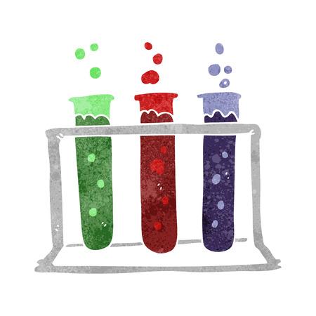 test tubes: freehand retro cartoon rack of test tubes Illustration