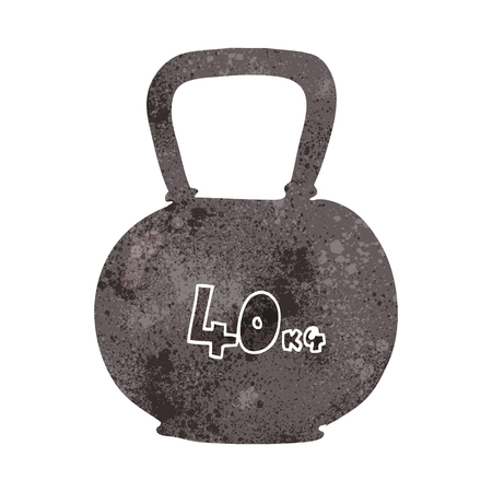 freehand retro cartoon 40kg kettle bell weight