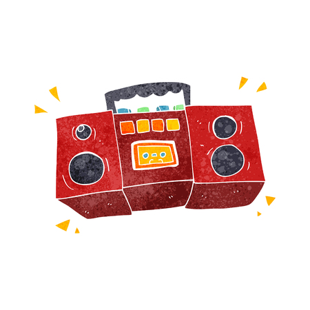 tape player: freehand retro cartoon cassette tape player
