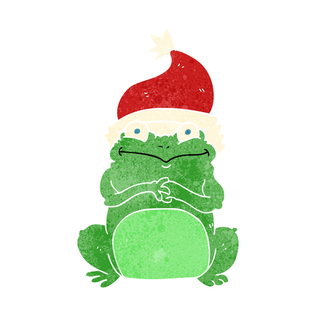 christmas frog: freehand retro cartoon frog wearing christmas hat