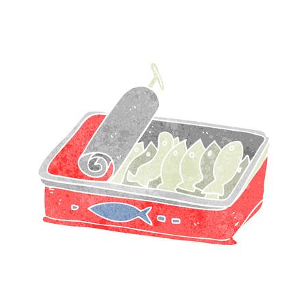 sardines: freehand retro cartoon can of sardines