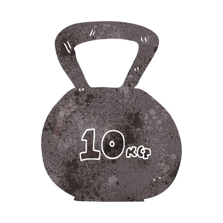 kettle bell: freehand retro cartoon 10kg kettle bell weight
