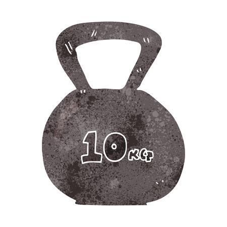 freehand retro cartoon 10kg kettle bell weight