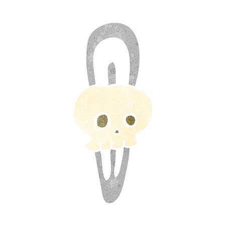 hairclip: freehand retro cartoon skull hairclip